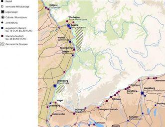 Karte römischer Siedlungen in Südwestdeutschland